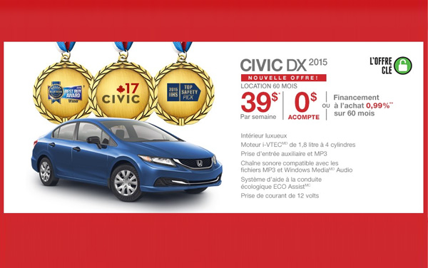 Promotions Honda Civic Berline Rive-Nord